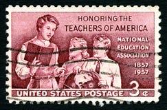 尊敬美国邮票的老师 免版税图库摄影