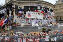 尊敬那些的感人的悼辞在对查理Hedbo,巴黎的恐怖袭击丢失了, 2016年 免版税库存图片