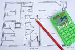 小下来房子计划概略的大小 库存图片