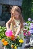 小与a的小孩女孩浇灌的花 免版税库存图片