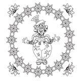 小丑与花卉框架的着色页 免版税库存照片