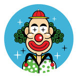 小丑供人潮笑者面孔动画片象 免版税库存照片