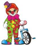 小丑和自行车 免版税库存照片