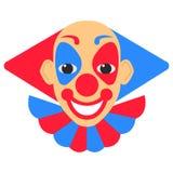 小丑微笑与红色和蓝色头发和构成的传染媒介动画片 皇族释放例证