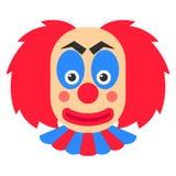 小丑微笑与红色头发和蓝色构成的传染媒介动画片 皇族释放例证