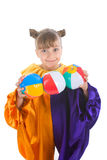 小丑服装女孩一点 库存照片