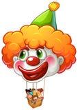 小丑气球运载的孩子 免版税库存照片