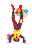 小丑滑稽的headstand 免版税库存图片