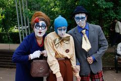 小丑画象节日` Clownfest `的在公园Sokolniki在莫斯科 库存照片