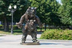 小丑雕塑 水平的框架 12 08 2017年 免版税库存图片