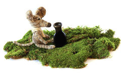 小五颜六色的被编织的聪慧的儿童的玩具在wh的老鼠模型 免版税库存图片