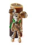 小五颜六色的knited聪慧的儿童的玩具在gre的老鼠模型 库存图片