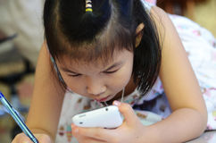 小亚裔女孩特写镜头画象  免版税库存照片