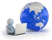 3d小人民-全球性通信 免版税库存照片