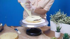 小企业和爱好概念 点心师,做一个蛋糕 影视素材