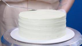 小企业和爱好概念 点心师,做一个蛋糕 股票录像