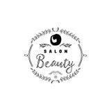 小企业的徽章-美容院 贴纸,邮票,商标-设计的,做的手 使用花卉 免版税库存图片