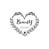 小企业的徽章-美容院 贴纸,邮票,商标-设计的,做的手 使用花卉 免版税库存照片