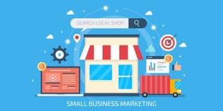 小企业营销,地方企业优化, seo营销,小商店的互联网广告 平的设计横幅 向量例证