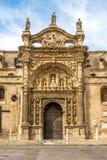 小修道院教会门面在El Puerto de圣玛丽亚镇,西班牙 库存照片