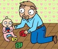 小儿童演奏空间s的父亲女孩 免版税图库摄影