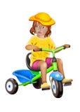 小儿童骑马三轮车 免版税库存图片