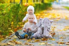 小兄弟和姐妹获得乐趣在秋天公园 库存照片