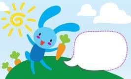 小兔在一个草甸用红萝卜说 免版税库存照片