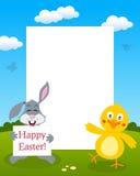 小兔&小鸡照片框架 库存图片