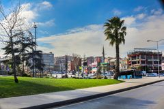 小公园&街道Unkapani法提赫伊斯坦布尔 库存照片