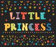小公主 小女孩的逗人喜爱的贺卡 滑稽的postc 免版税库存图片