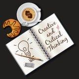 小册子、杯子热奶咖啡和新月形面包的例证 库存例证