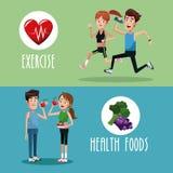 小册子健康锻炼的食物 库存例证