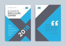 小册子在蓝色颜色-抽象企业小册子的盖子设计 皇族释放例证