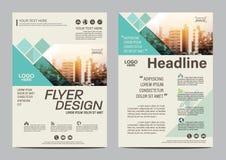 小册子布局设计模板 年终报告飞行物传单盖子介绍现代背景 在A4的例证 免版税图库摄影