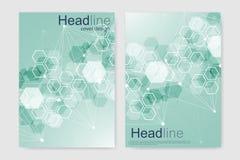 小册子杂志传单飞行物的传染媒介模板包括小册子年终报告 现代未来派六角样式 向量例证