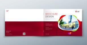 小册子模板布局、盖子设计年终报告、杂志、飞行物或者小册子在A4与几何形状 向量 库存例证