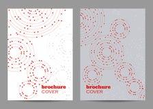 小册子模板布局设计 与被连接的线和小点的几何样式 库存照片