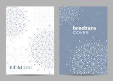 小册子模板布局设计 与被连接的线和小点的抽象几何背景 免版税库存图片
