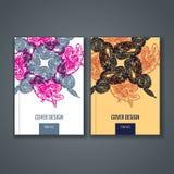 小册子模板布局,年终报告,书,杂志盖子设计  免版税库存照片