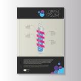 小册子现代设计 医学 边界月桂树离开橡木丝带模板向量 库存例证