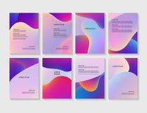 小册子飞行物布局有抽象五颜六色的背景 库存例证