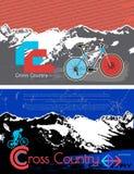 小册子,传单设计传染媒介模板 模板在山的飞行物自行车 免版税库存照片
