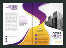 小册子,飞行物,与紫色和黄色颜色的模板设计 皇族释放例证