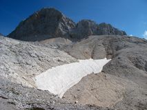 小冰川在朱利安阿尔卑斯山 库存图片