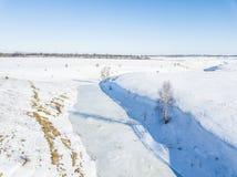 小冻结的河 color ice nice very 鸟瞰图风景 免版税库存照片