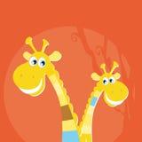 小动物大长颈鹿的徒步旅行队 免版税库存图片