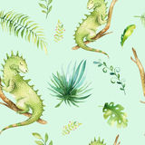 小动物托儿所被隔绝的无缝的样式 水彩boho热带织品图画,逗人喜爱儿童热带的图画 库存图片