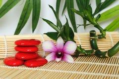小卵石在与兰花的禅宗生活方式安排了在木地板和叶子backg扭转的竹子的右边 图库摄影
