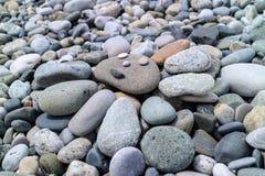 小卵石太阳在海滩的 库存图片
